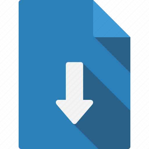 arrow, document, down icon