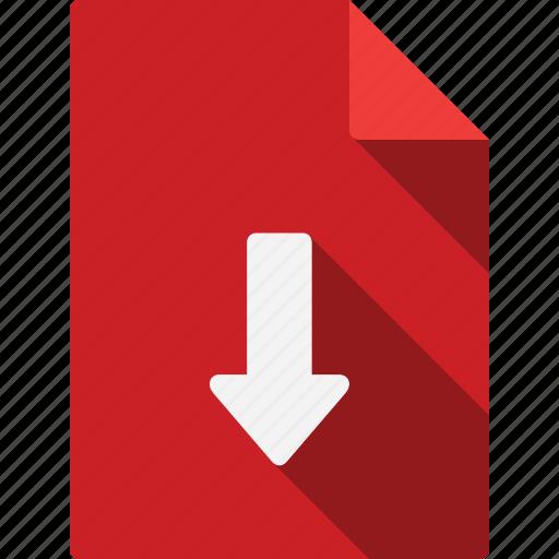 arrow, document, down icon