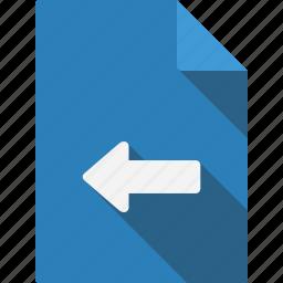arrow, document, left icon