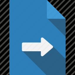 arrow, document, right icon