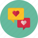 chat, communication, heart, message, speech, talk icon