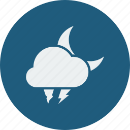 hailstones, lightning, night icon