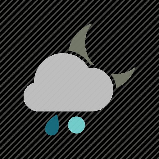 night, rainy, snowball icon
