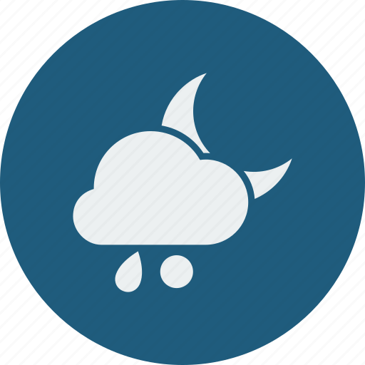 night, rainy, snowball icon
