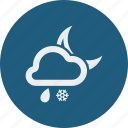 night, rainy, snowfall icon