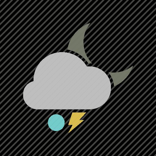 lightning, night, snowball icon