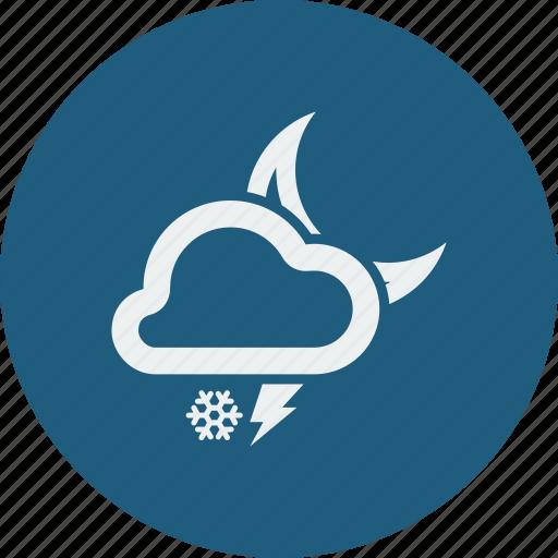lightning, night, snowfall icon