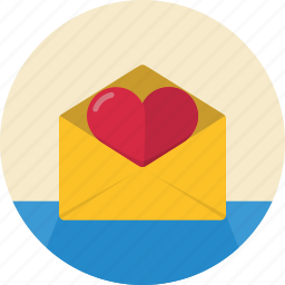 envelope, heart, letter, love, message, open icon