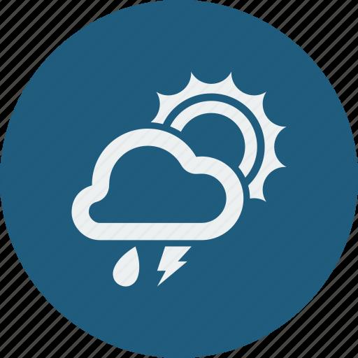 lightning, rainy, sunny icon