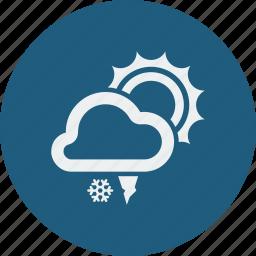 hailstones, snowfall, sunny icon