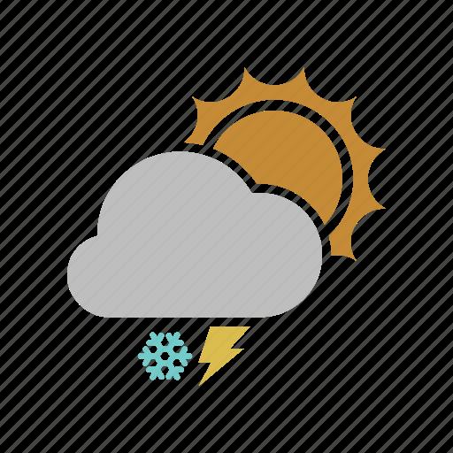 lightning, snowfall, sunny icon