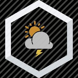 sunny, thunderstorm icon