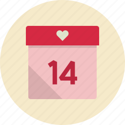 calendar, date, day, event, heart, love, valentine, valentines icon