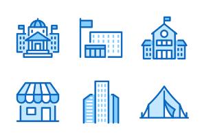 30px: Buildings - Blue Line