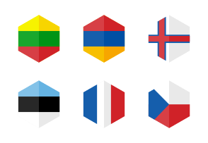 Africa Flag Icons. Hexagon Flat Design.