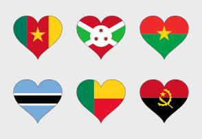 Africa flags heart