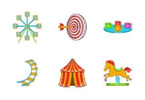 Amusement Park icons set, cartoon style