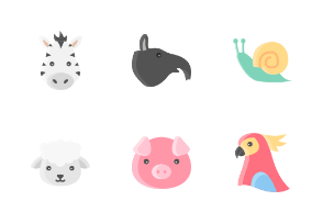 Animal Face Without Outline Iconset