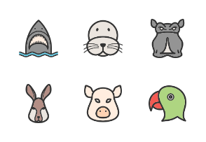 Animal Faces Filled Line