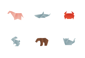 Animals origami color