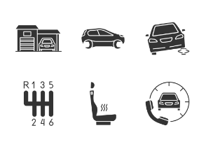 Auto workshop. Glyph. Silhouettes