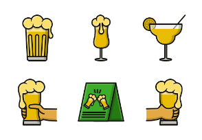 Beer and wine Filled Outline Style