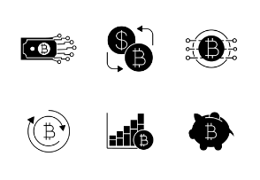 Bitcoin. Glyph. Silhouettes