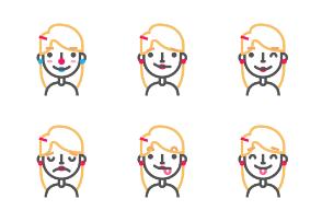 Blonde line emoji avatars