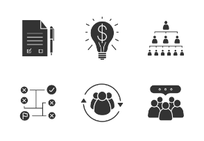 Business concepts. Glyph. Silhouettes