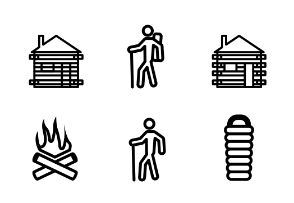 Camping Icons Thick Line