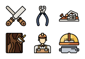 Carpenter Elements And Tools filloutline