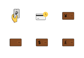 Cash icon set Colored