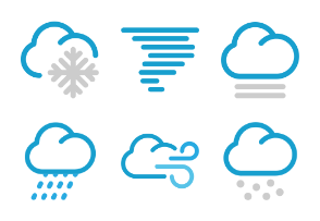 Color Weather icons in thick line style