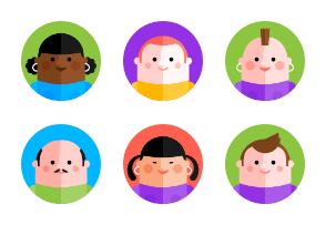 Colorful dudes and gals flat avatars