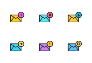 Colorful email line icons