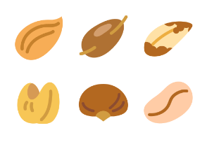 Colorful signs of nuts types in glyph style