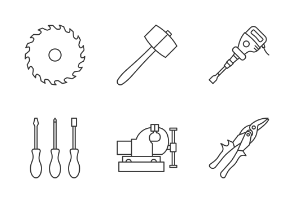 Construction tools. Linear. Outline