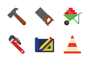Construction Tools Set Flat Color Style