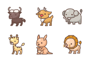 Cute Animal Family - Lineal Color Set