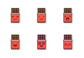 Cute Chocolate Emoji in Different Expressions