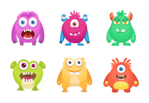 Cute Funny Monster Characters
