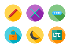 Mobile Apps Flat (Multicolor Background & Shadow)