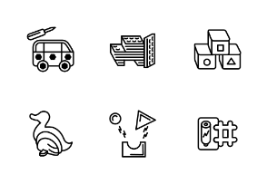 Different types of toys blocks in line style