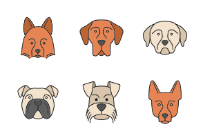 Dog faces. Filled. Color