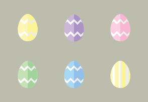 Pastel Easter Eggs In Flat UI Design Style