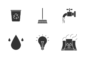 Ecology. Eco. Environment protection. Glyph. Silhouettes