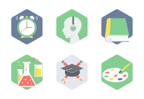 Hexagon Education flat icons Part-2
