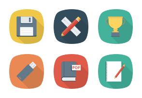 Education Flat Square Shadow icons