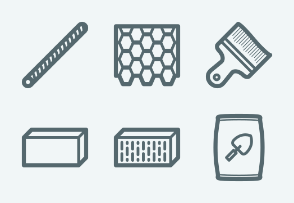 ELASTO Building materials and construction Flat & Outline icons