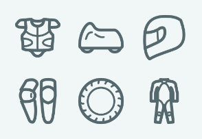 ELASTO Motorcycle gear and parts Flat & Outline icons
